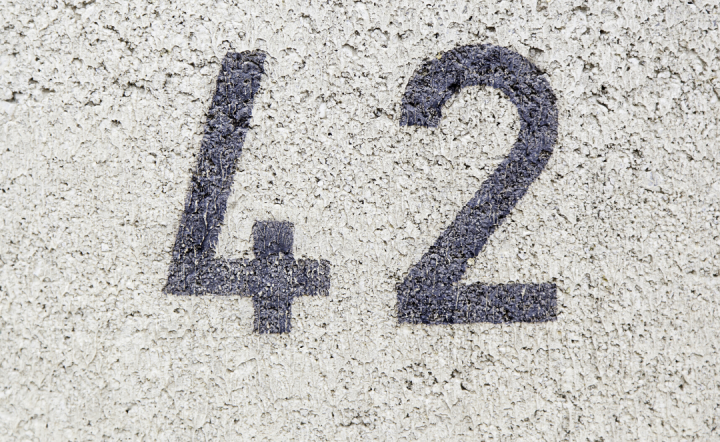 the number 42 painted on a wall.